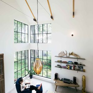 Austin living room with floor-to-ceiling windows