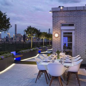 Outdoor dining area at a Manhattan penthouse