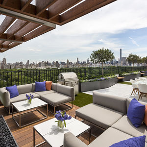 Outdoor hangout and waterfall at a Manhattan penthouse