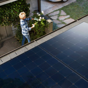 Overhead view of solar panels