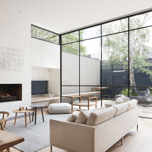 Hans Wegner Wishbone chairs, with oak stools and chairs from MAP furniture, in Melbourne renovation with neutral palette.