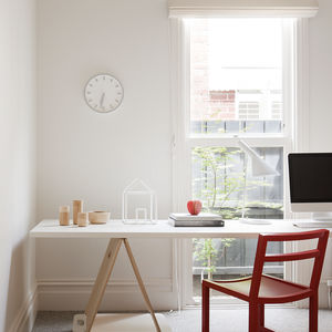 Square Dining Chair from MAP and Tempo wall clock from Magis in office of Melbourne renovation.