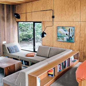 Interior of a modern guesthouse in Sea Ranch with comfortable built-ins