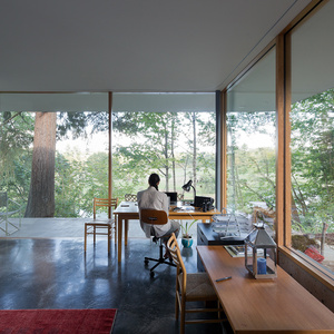 modern office wood table pond