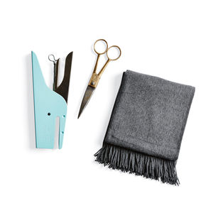 Italian-designed Ellepi stapler, Parveen scissors from India, and vintage alpaca blankets from Sackcloth & Ashes at Beam & Anchor store in Portland.