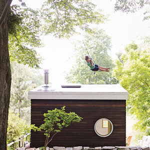 Exterior facade of a backyard addition at a Massachusetts home
