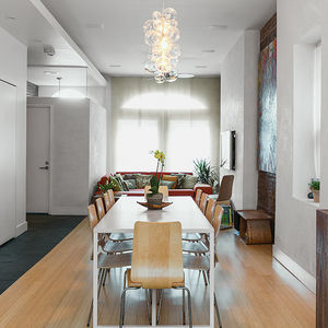 Family Matters dining room with handmade pendant.