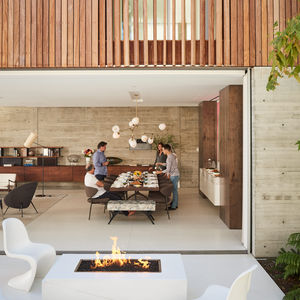 Patio with a trio of Panton chairs in Santa Monica
