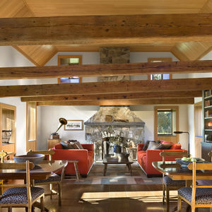 Interior of renovated 18th century barn in the Catskills Mountains.
