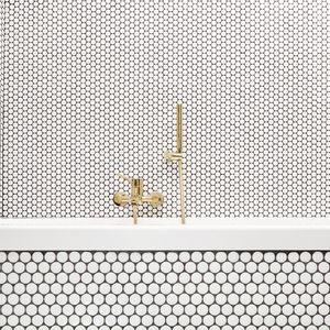 Hisbalit mosaic tiles in Prague bathroom renovation.
