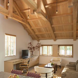 Historic trusses exposed by renovation