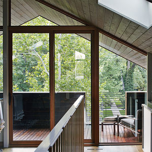 Kansas City office overlooking a deck with a B&B Italia chair