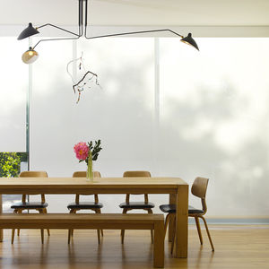 Los Angeles dining room shaded by blinds