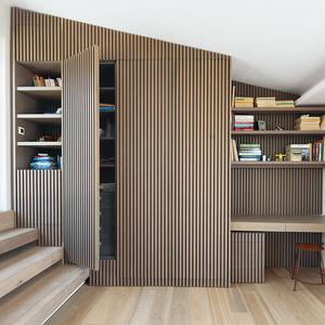 modern lycabettus penthouse apartment oak vertical slats office