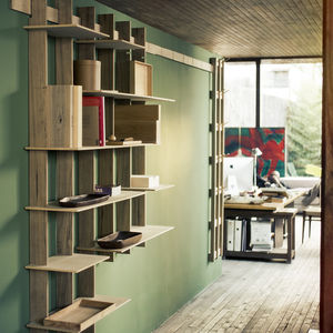 Pendant library, made from tropical woods, from Argentine company Net