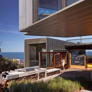 modern fairhaven beach house blackbutt eucalyptus outdoor barbecue sliding window