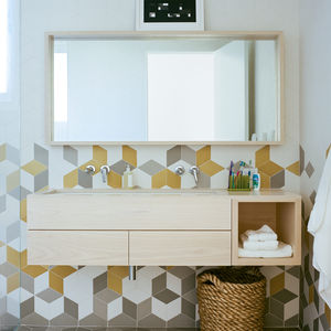 Colorful tex tiles from Mutina in bathroom of Rhode Island family vacation home by Bernheimer Architecture.
