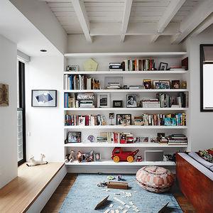 Modern Brooklyn renovation has elm window sill in living room