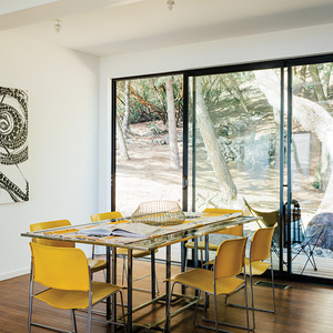 modern design prefab dining room stacking chairs glass steel table