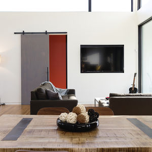 Living room with recessed TV in the Rappahannock County house