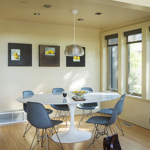Dining area at the Stillwater Dwellings prefab in Napa