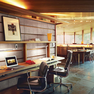 Modern home renovation in Napa includes redwood and concrete office with built-in desk