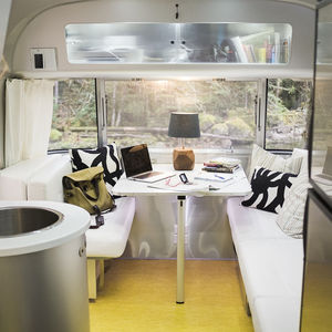 Interior of Airstream with smart home tech.