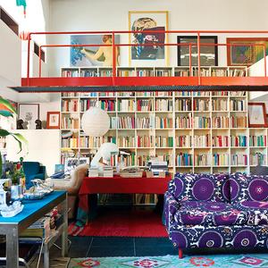 modern gae aulenti milan living room shelving couch catwalk