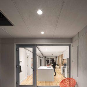 Plywood deck at a Quebec renovation