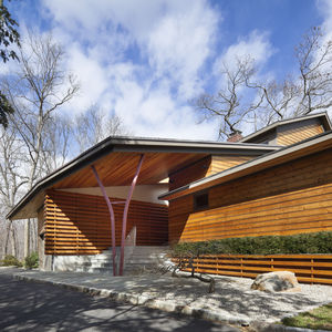 Steel beams reference the surrounding woods in upstate New York