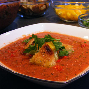 Greenawalt's gazpacho, topped with homemade croutons and cilantro.