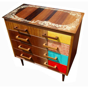 Margate Drawers, a re-veneered circa-1950s chest-of-drawers with drawings of the Margate seaside screened atop.
