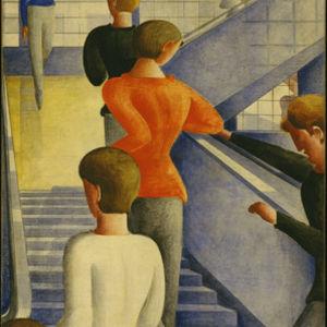 """Oskar Schlemmer. Bauhaus Stairway. 1932. Oil on canvas. 63 7/8 x 45"""" (162.3 x 114.3 cm). The Museum of Modern Art, New York. Gift of Philip Johnson. © 2009 Estate of Oskar Schlemmer, Munich/Germany"""