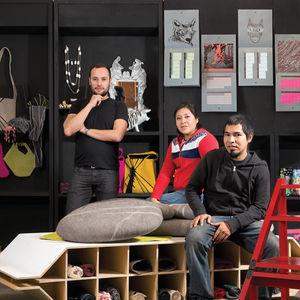 "According to founder Gustavo Fricke (standing, with Rosario Martinez Llaguno, center, and Roberto Vega, right), what makes  blackbox special is that ""we have lots of soul. Many shops in Oaxaca buy goods from handcrafters cheaply and resell them for  four"
