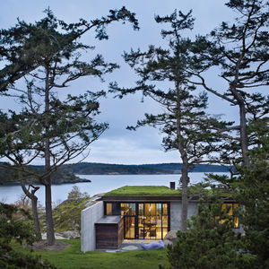 This is one of the Maxon family's favorite Tom Kundig projects: a 1,000 square-foot weekend cabin, basically a steel box on stilts, that can be completely shuttered using a hand crank when the owner is away.
