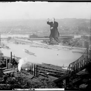 """Andrew Carnegie ravaging Pittsburgh as seen on <a href= """"http://www.etsy.com/shop/alternatehistories"""">Alternate Histories</a>."""