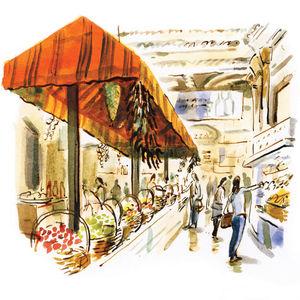 food malls dan williams illustration