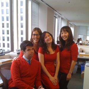 Yes, they always match their outfits. Every day. From left: Senior Editor Aaron Britt, Assistant Editor Jordan Kushins, Editor Jaime Gross, and Associate Editor Miyoko Ohtake.