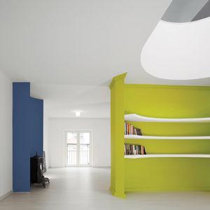 modern lime green curved book shelf