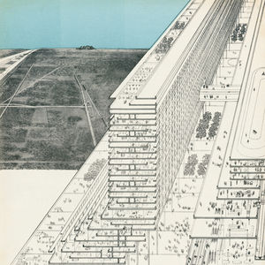 The Jersey Corridor Project, a linear city proposal by Peter Eisenman and Michael Graves, among others, appeared in a 1965 issue of <i>Life</i>  magazine. Illustration courtesy Thomas A. Briner.
