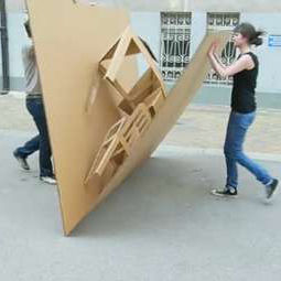 popup cardboard office
