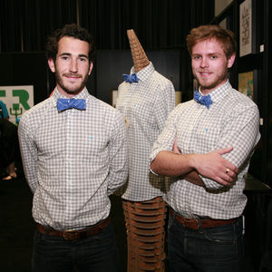 Michael Maher and Mike Armenta of Taylor Stitch model the Architect's Shirt and Bow Tie at the entrance to Dwell on Design.