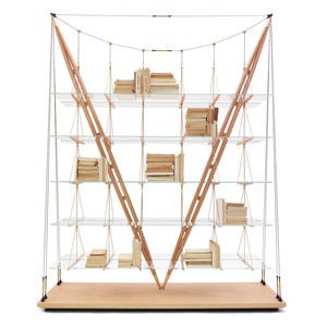 Stainless steel rods, brass fastenings, glass, and two ash pillars constitute the shelf's structure.