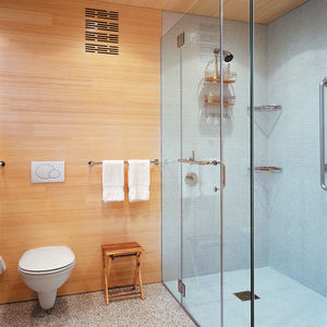 The floors, walls, and ceilings are coated in FSC-Certified laminated bleached bamboo.