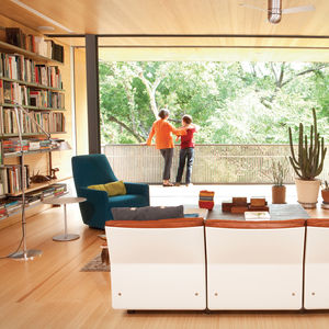 Modern living room with 620 Chair Programme by Dieter Rams