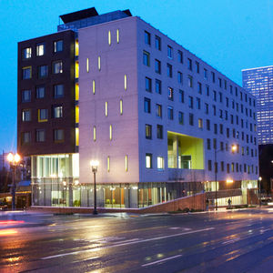 Contemporary supportive housing project Bud Clark Commons in Portland, Oregon