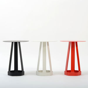 powder coated modern end table in red, white, and black