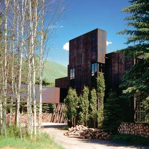 raw steel facade of modern house in Idaho