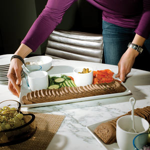 White food platters by Crate & Barrel