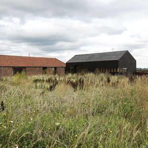 Exterior of modern barn house in England